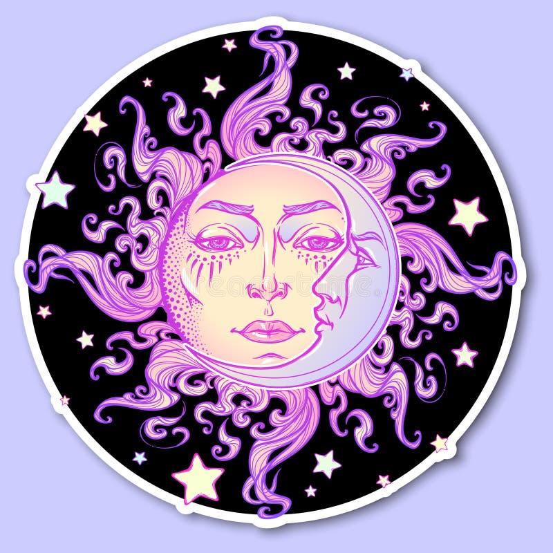etiqueta decorativa O sol e o crescente tirados mão do estilo do conto de fadas moon com um rosto humano em um fundo da noite est ilustração stock