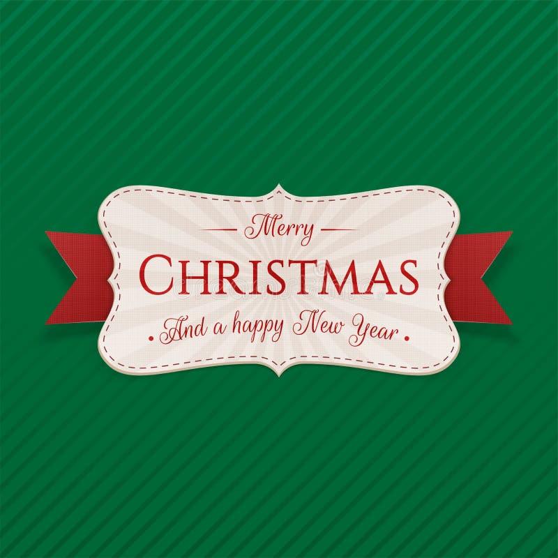 Etiqueta decorativa realista de la Feliz Navidad stock de ilustración