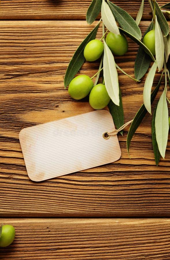 Etiqueta del aceite de oliva imagen de archivo