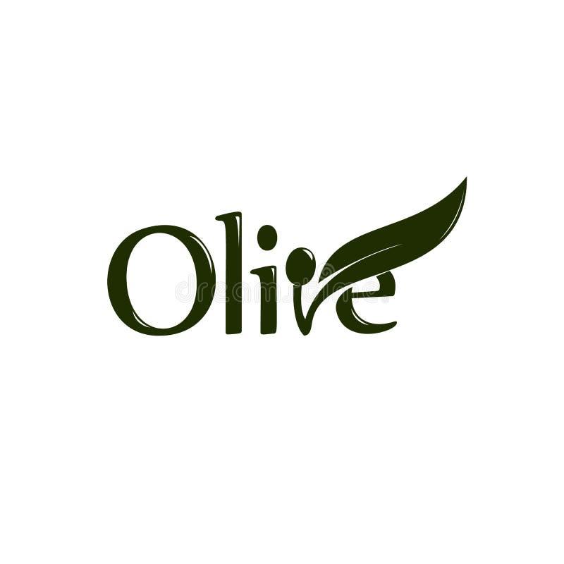 Etiqueta del aceite de oliva, producto orgánico Vector la rama de olivo con la hoja y las drupas, logotipo del vector stock de ilustración