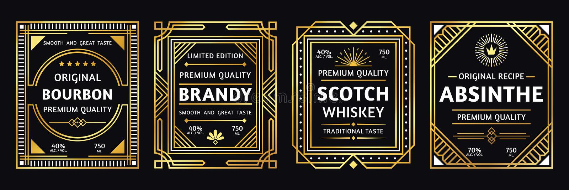 Etiqueta del alcohol del art déco Brandy del borbón del vintage y ejemplo escoceses, retros del vector de las etiquetas del ajenj libre illustration