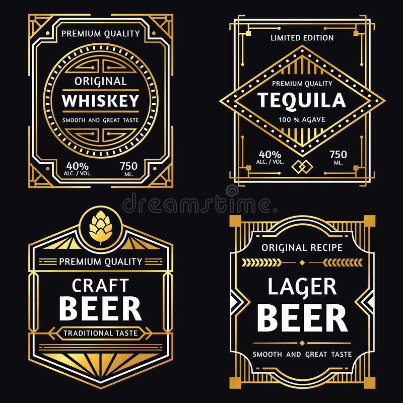 Etiqueta del alcohol del vintage Whisky del art déco, muestra del tequila, arte retro y ejemplo del vector de las etiquetas de l libre illustration