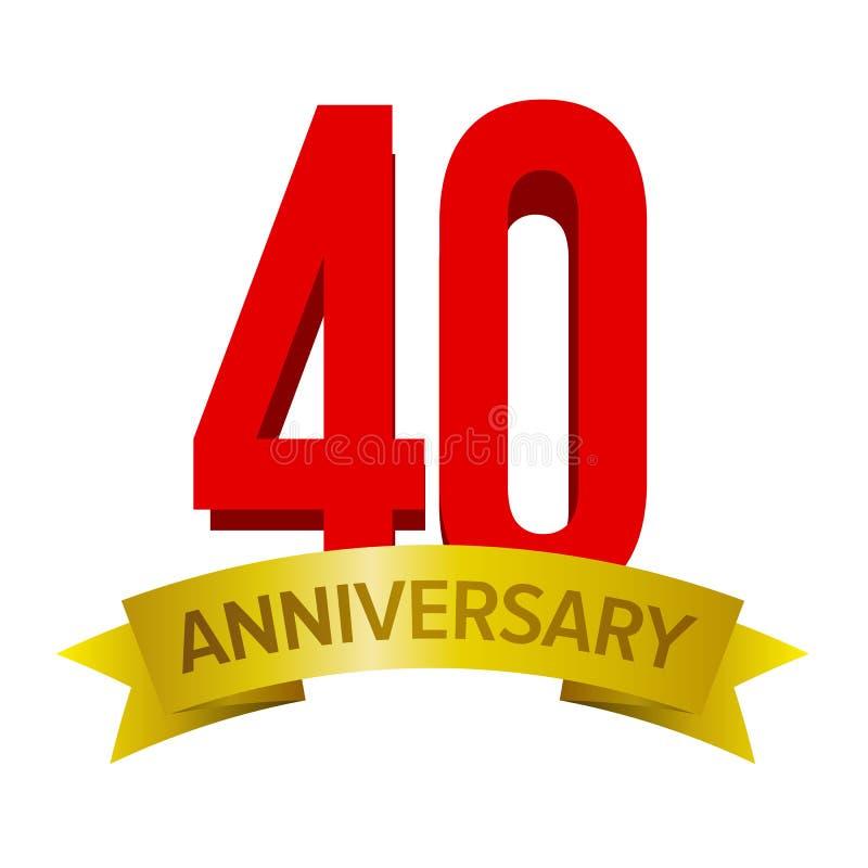 40.a etiqueta del aniversario libre illustration