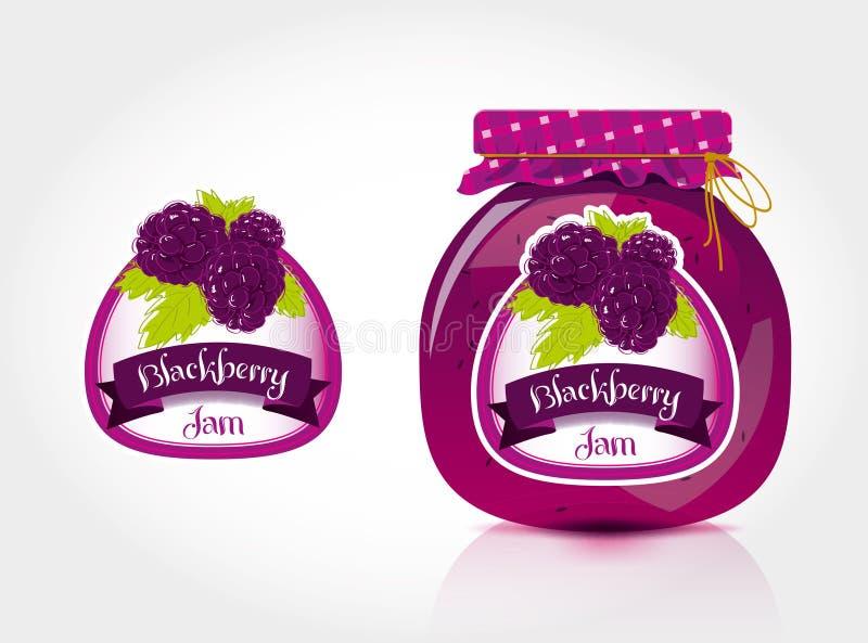 Etiqueta del atasco de Blackberry con el tarro ilustración del vector