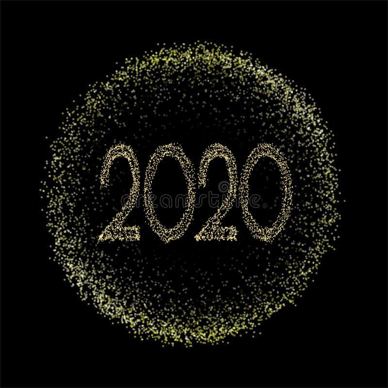 etiqueta del círculo del oro de 2020 tonos medios, bandera de oro, marco del Año Nuevo, texto 2020, círculo aislado de la pendien imagen de archivo libre de regalías