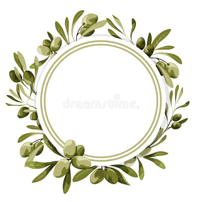 Etiqueta del círculo del vector con la decoración del olivo Ejemplo de la comida del vegano ilustración del vector