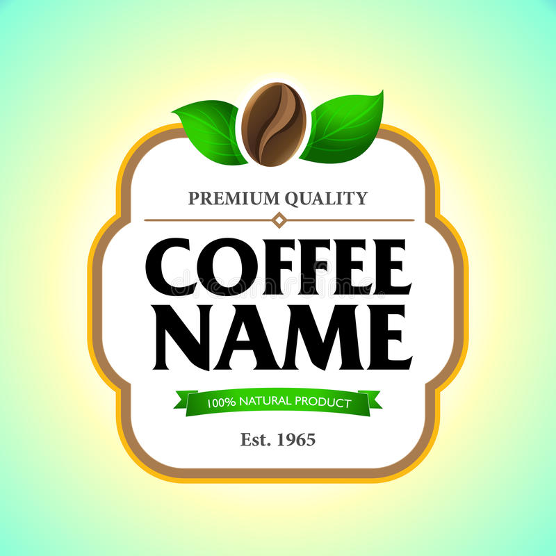 Etiqueta del café, plantilla de la etiqueta engomada Diseño de empaquetado para un café ilustración del vector