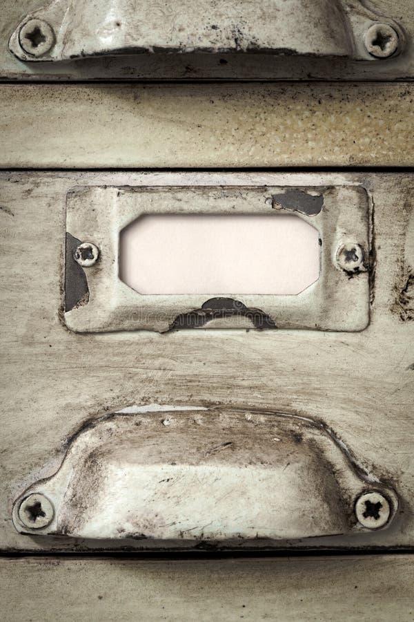 Etiqueta del cajón del cabinete de archivo del vintage imágenes de archivo libres de regalías