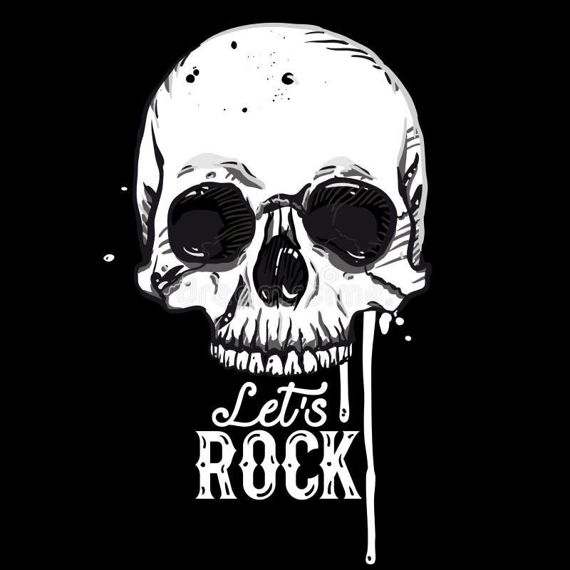 Etiqueta del cráneo de la roca libre illustration
