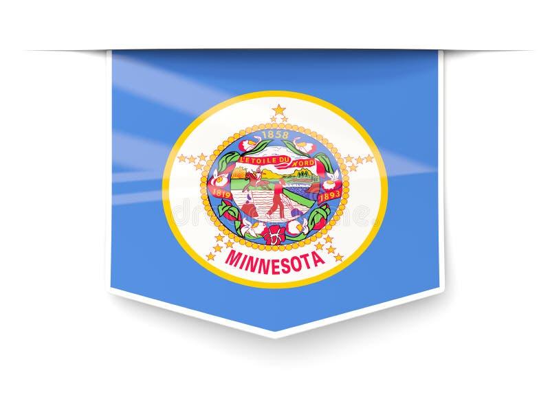 Etiqueta del cuadrado de la bandera del estado de Minnesota con la sombra Ubicación de Estados Unidos libre illustration