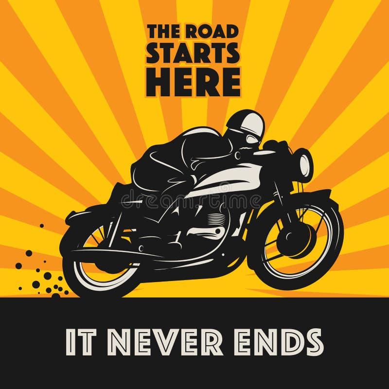 Etiqueta del deporte de la motocicleta del vintage stock de ilustración