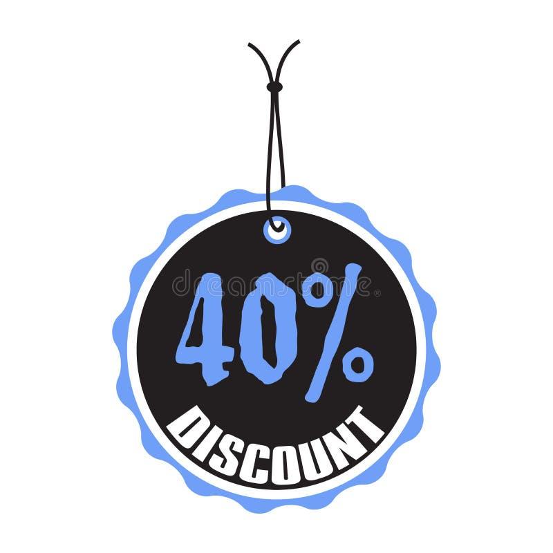 Etiqueta del descuento del cuarenta por ciento ilustración del vector