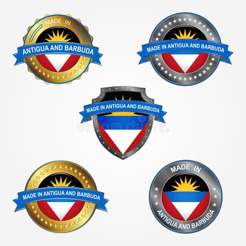 Etiqueta del diseño de hecho en Antigua y Barbuda Ilustración del vector ilustración del vector