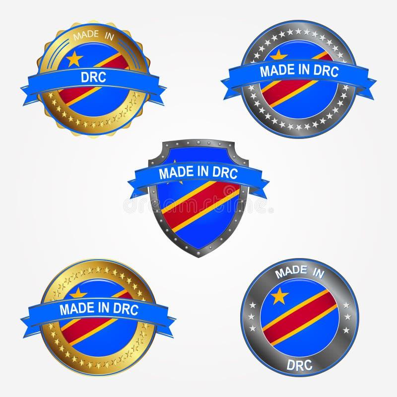 Etiqueta del diseño de hecho en República Democrática del Congo Ilustración del vector fotos de archivo libres de regalías