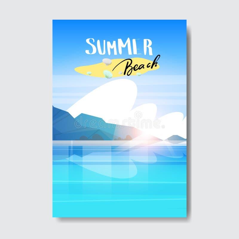 Etiqueta del diseño de la insignia del paisaje de la playa del verano Sazone los días de fiesta que ponen letras para el logotipo stock de ilustración
