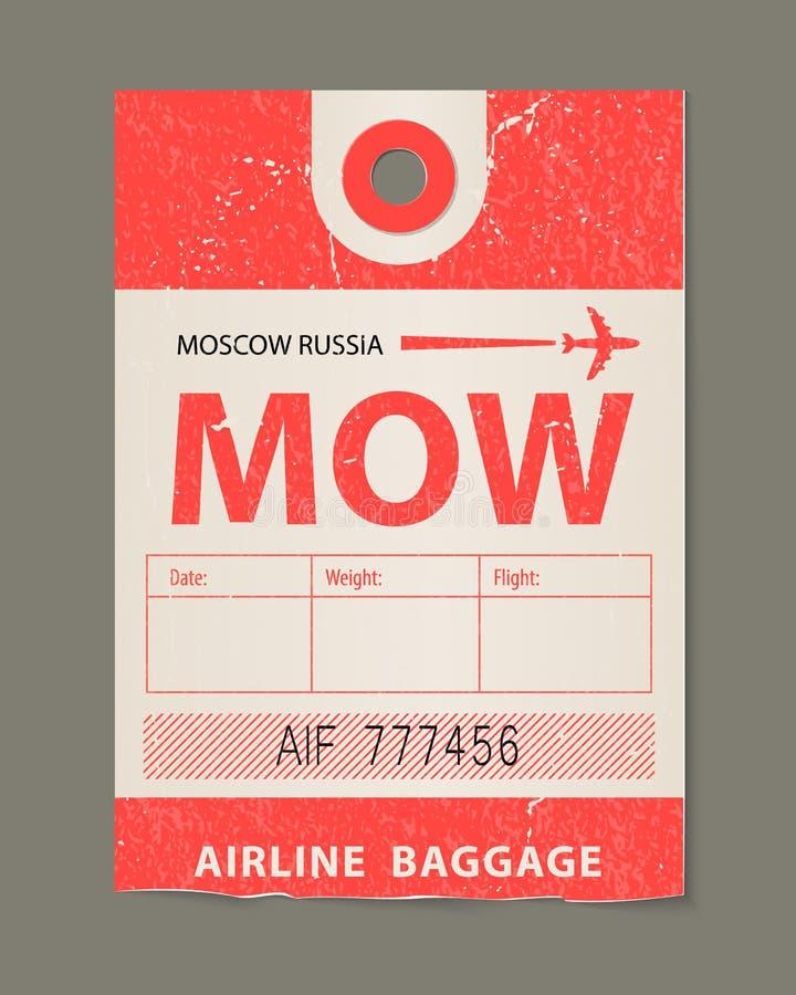 Etiqueta del equipaje del vintage, etiqueta retra del país de Moscú Rusia del viaje del vintage ilustración del vector