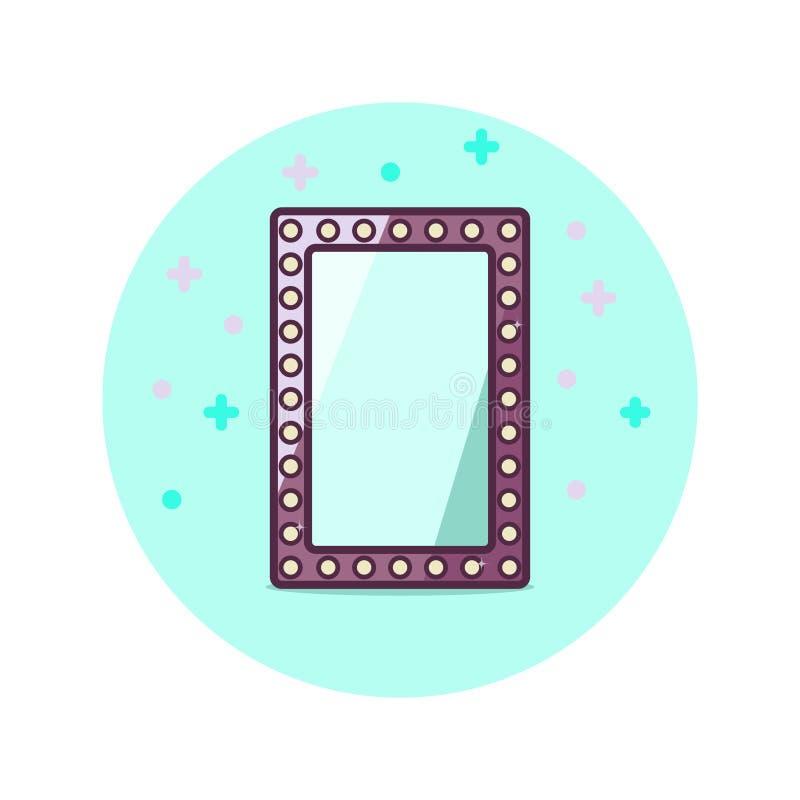 Etiqueta del espejo de la situación del vintage aislada en fondo azul del círculo Diseñe la plantilla para la bandera, insignia,  stock de ilustración