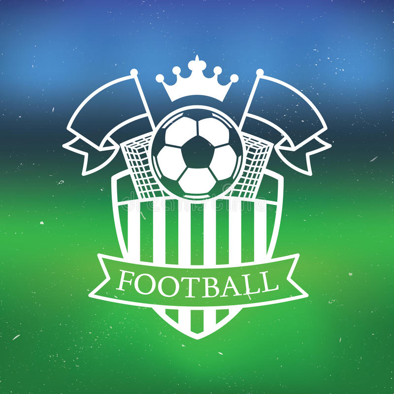 Etiqueta del fútbol/del fútbol con el fondo borroso del estadio ilustración del vector