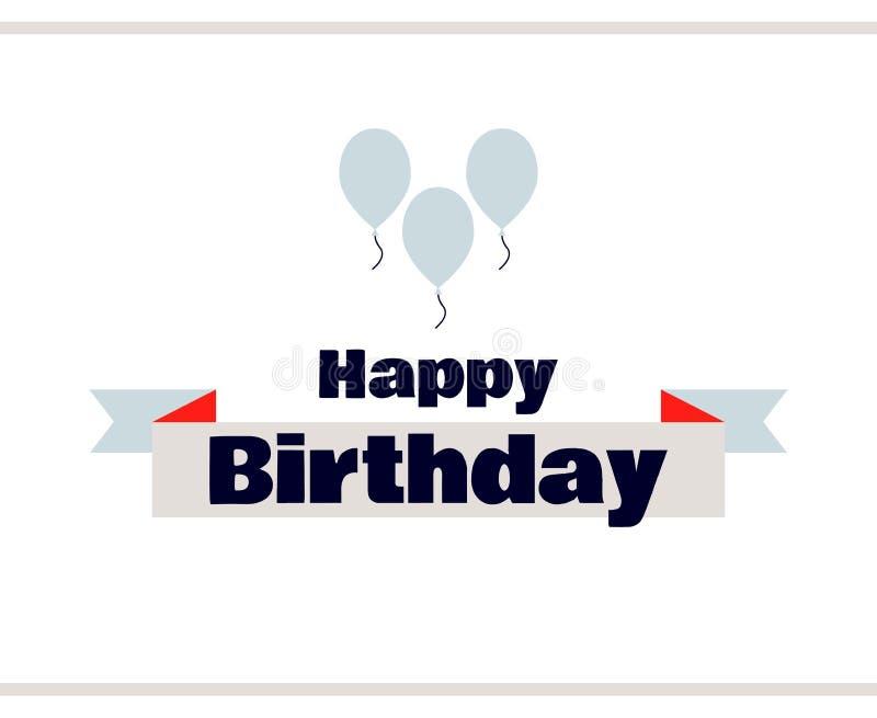 Etiqueta del feliz cumpleaños con los globos ilustración del vector