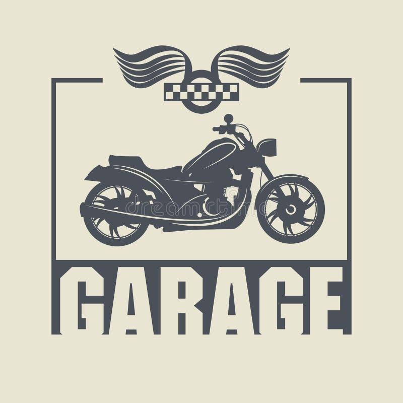 Etiqueta del garaje del vintage stock de ilustración