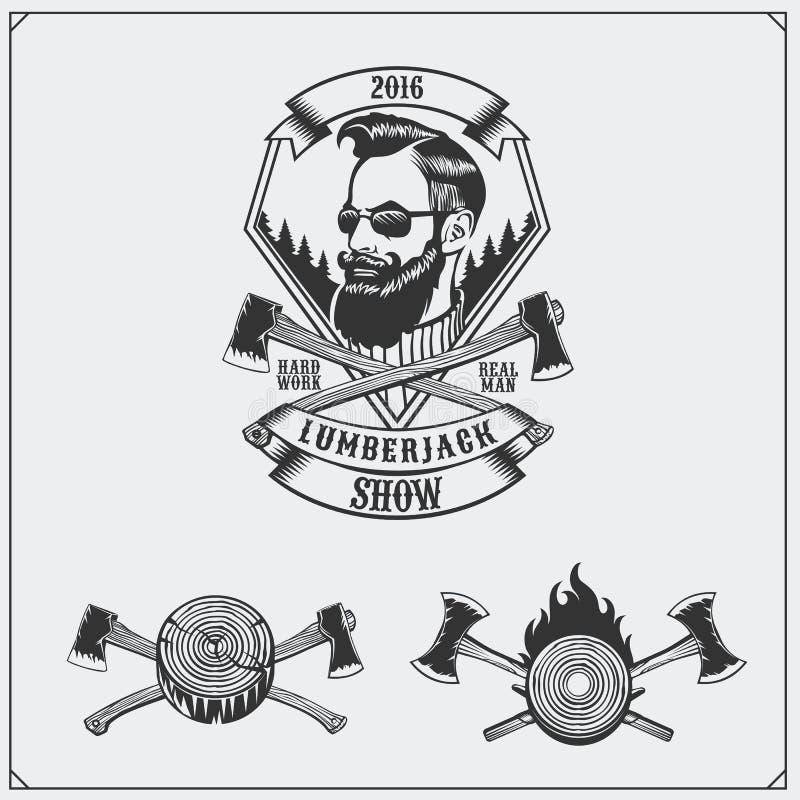 Etiqueta del leñador, hachas y elementos del diseño Estilo del vintage del inconformista libre illustration