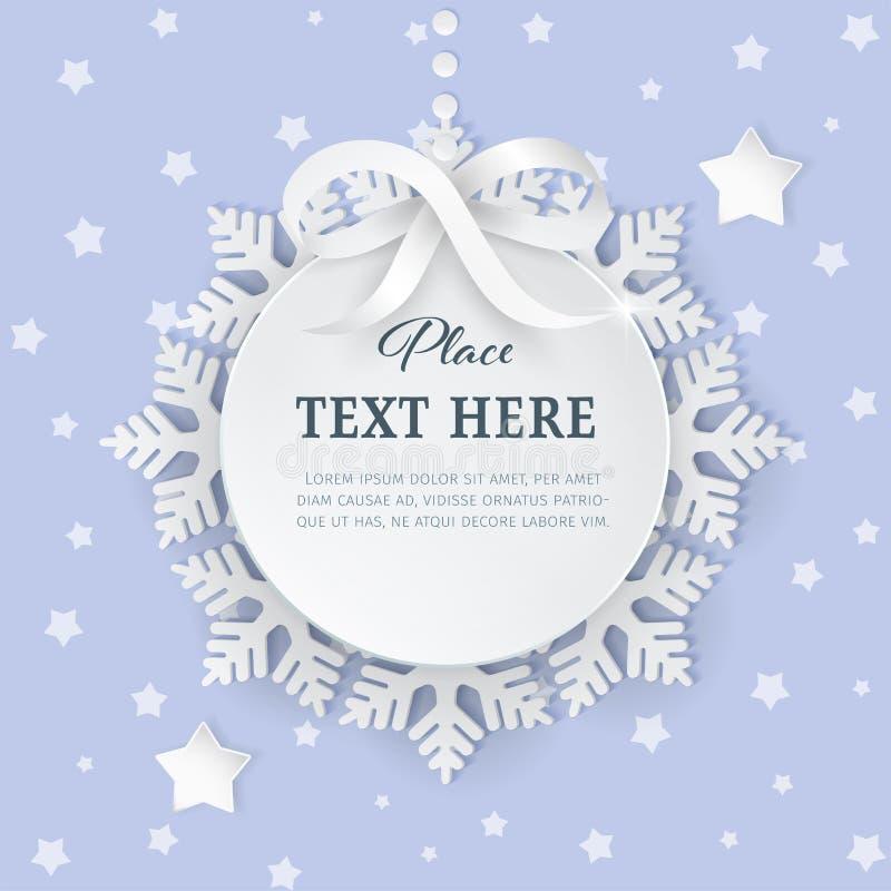Etiqueta del marco del círculo del papel del recorte 3D con el lazo de satén de plata y copos de nieve en el fondo purpúreo claro libre illustration