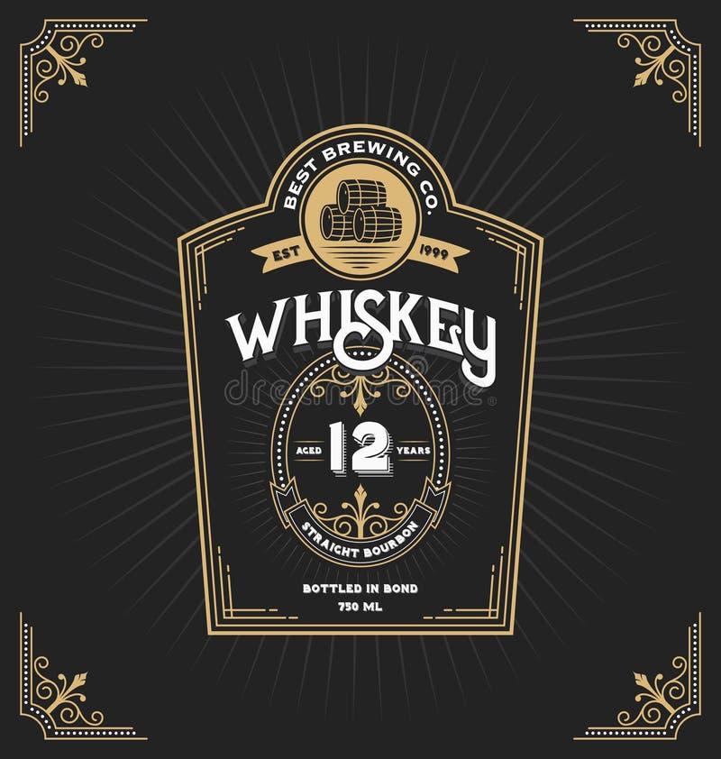 Etiqueta del marco del vintage para el whisky y la bebida libre illustration