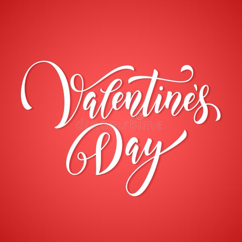 Etiqueta del monograma de Valentine Day para la tarjeta de felicitación rosada del amor del corazón stock de ilustración