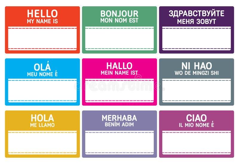 Etiqueta del nombre de los otros idiomas con el espacio de la copia stock de ilustración