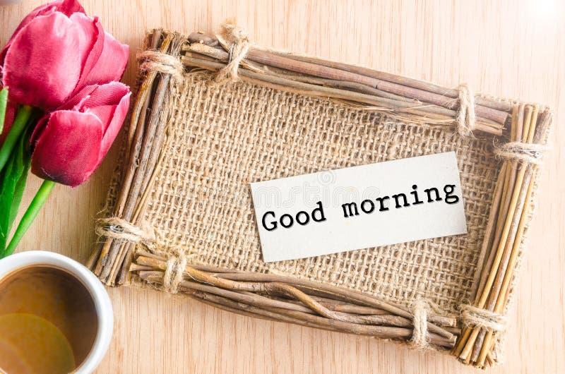 Etiqueta del papel de buena mañana imagenes de archivo