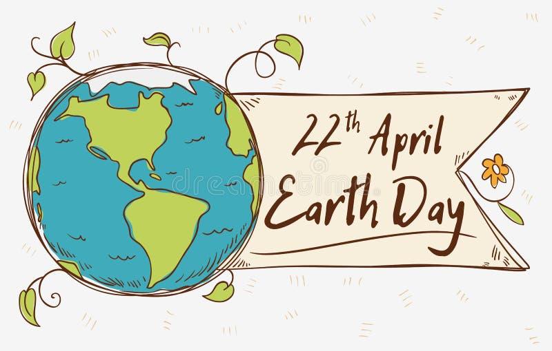 Etiqueta del planeta para el Día de la Tierra en el estilo del garabato, ejemplo del vector stock de ilustración