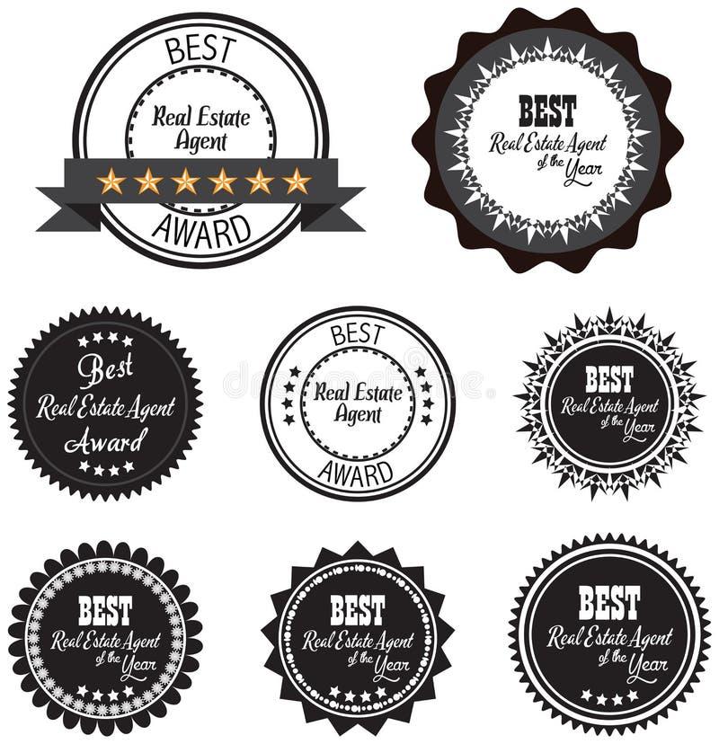 Etiqueta del promo del vector del mejor premio del agente inmobiliario del año stock de ilustración
