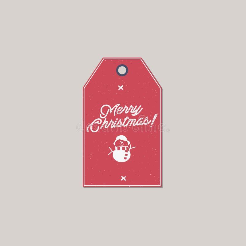 Etiqueta del regalo de la Feliz Navidad y del Año Nuevo Concepto con símbolos de Navidad - muñeco de nieve de la tarjeta del día  libre illustration