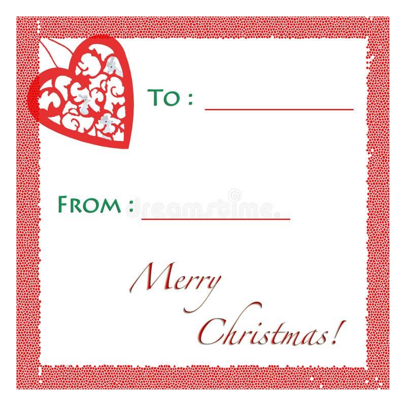 Etiqueta del regalo de la Navidad imagenes de archivo