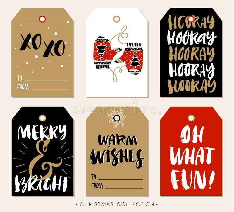 Etiqueta del regalo de la Navidad con caligrafía Elementos drenados mano del diseño stock de ilustración