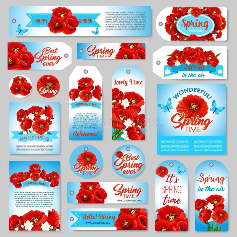 Etiqueta del regalo de la primavera, etiqueta de la venta, bandera con las flores stock de ilustración