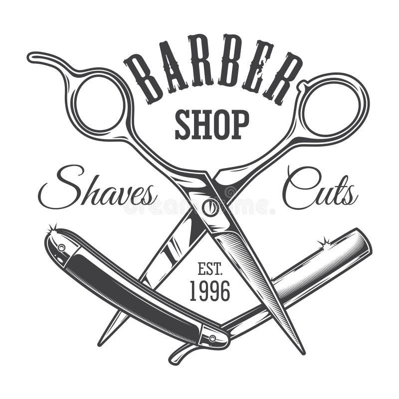 Etiqueta del salón del peluquero del vintage stock de ilustración
