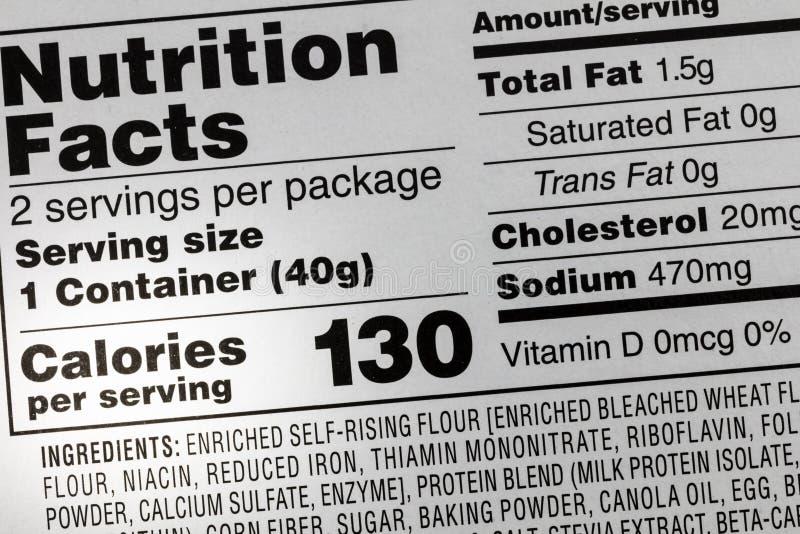 Etiqueta del sodio de la comida de las calorías de los ingredientes imagen de archivo libre de regalías