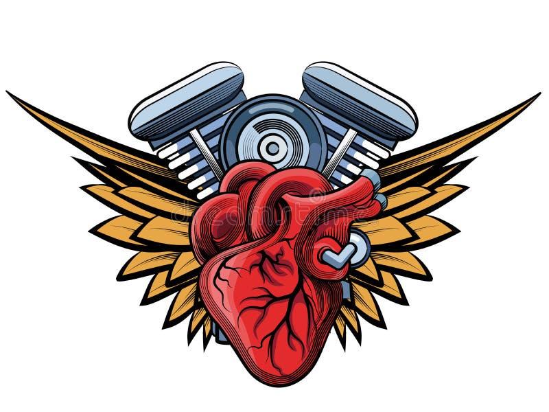 Etiqueta del tatoo del motor stock de ilustración