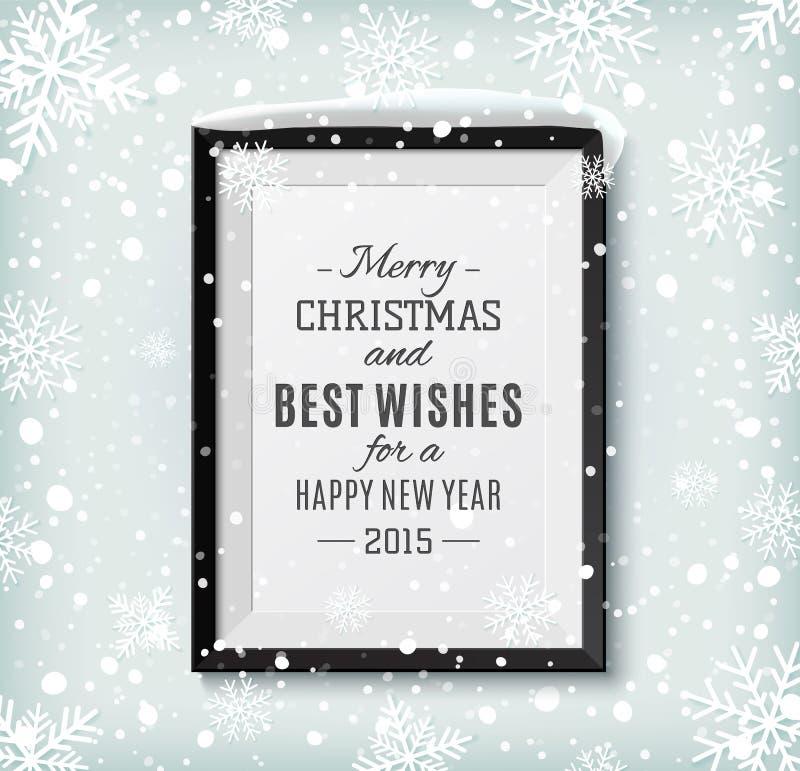 Etiqueta del texto de la Feliz Navidad y de la Feliz Año Nuevo en a stock de ilustración