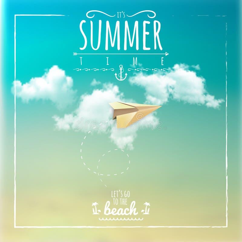 Etiqueta del tiempo de verano con el avión de papel stock de ilustración