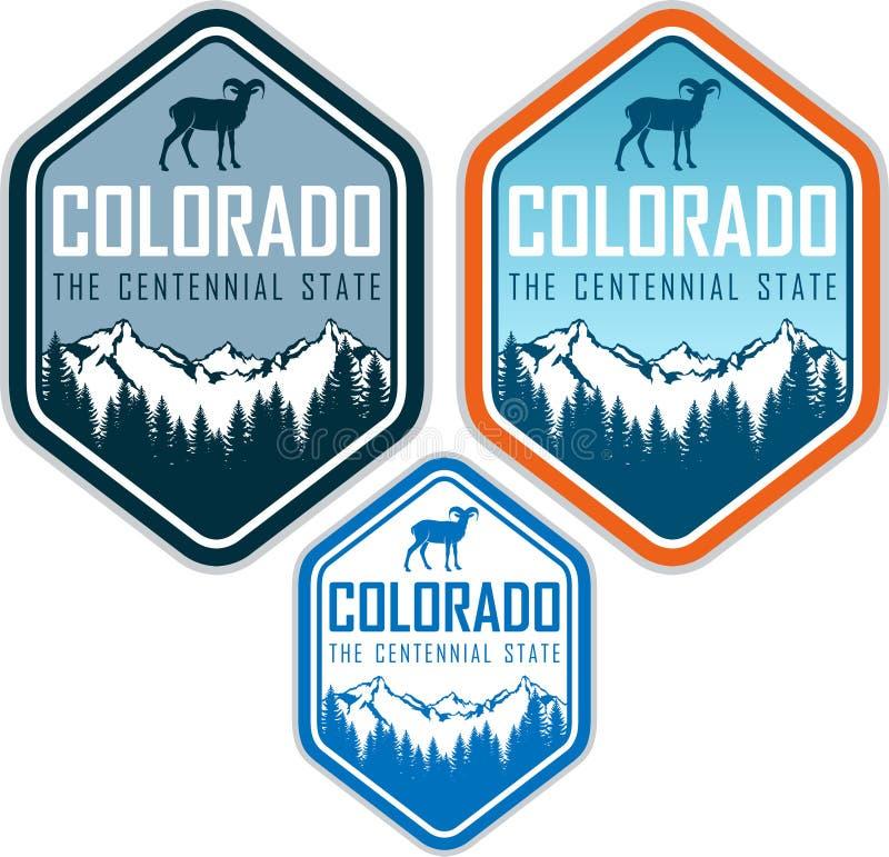 Etiqueta del vector de Colorado con las ovejas y las montañas de carnero con grandes cuernos stock de ilustración