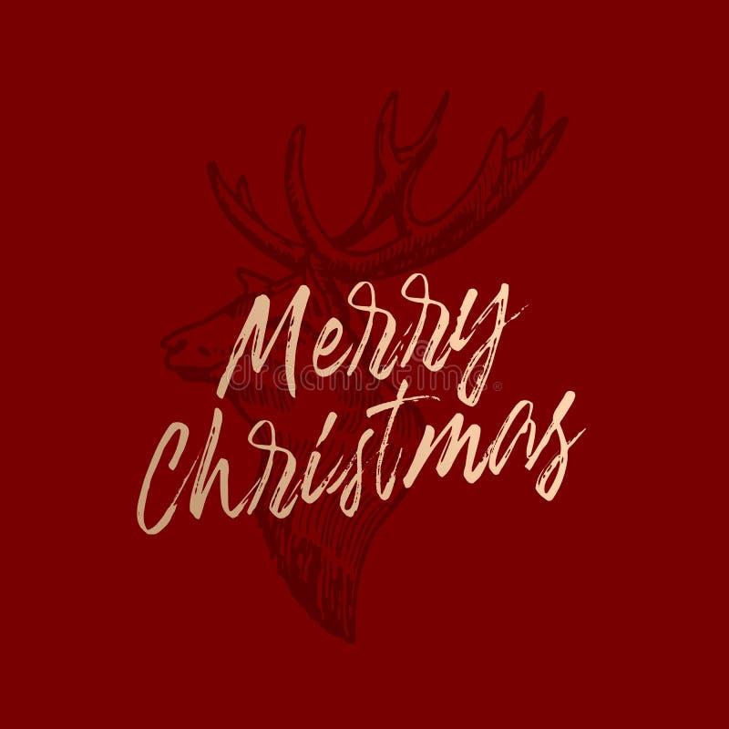 Etiqueta del vector del extracto de la Feliz Navidad, muestra o plantilla retra de la tarjeta.  stock de ilustración