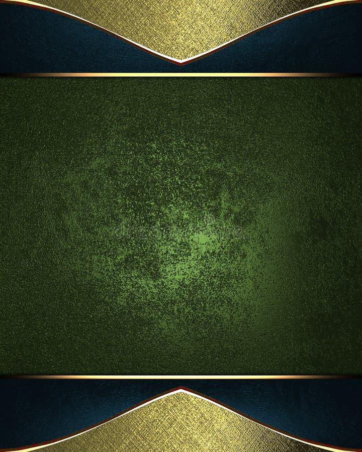 Etiqueta del verde del Grunge con el marco de oro Plantilla para el diseño copie el espacio para el folleto o la invitación del a ilustración del vector