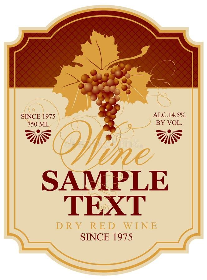 Etiqueta del vino con el manojo de uvas stock de ilustración