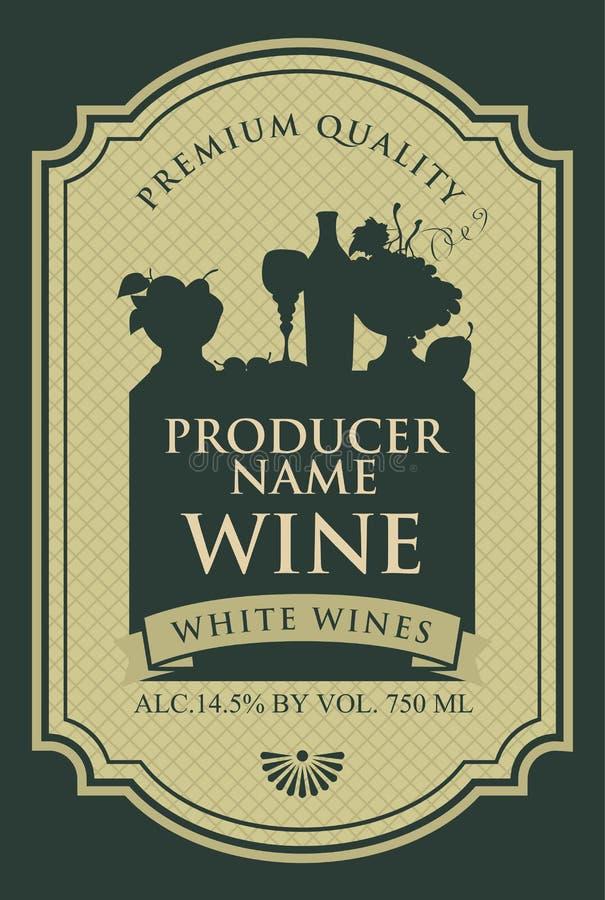 Etiqueta del vino con la silueta de una vida inmóvil stock de ilustración