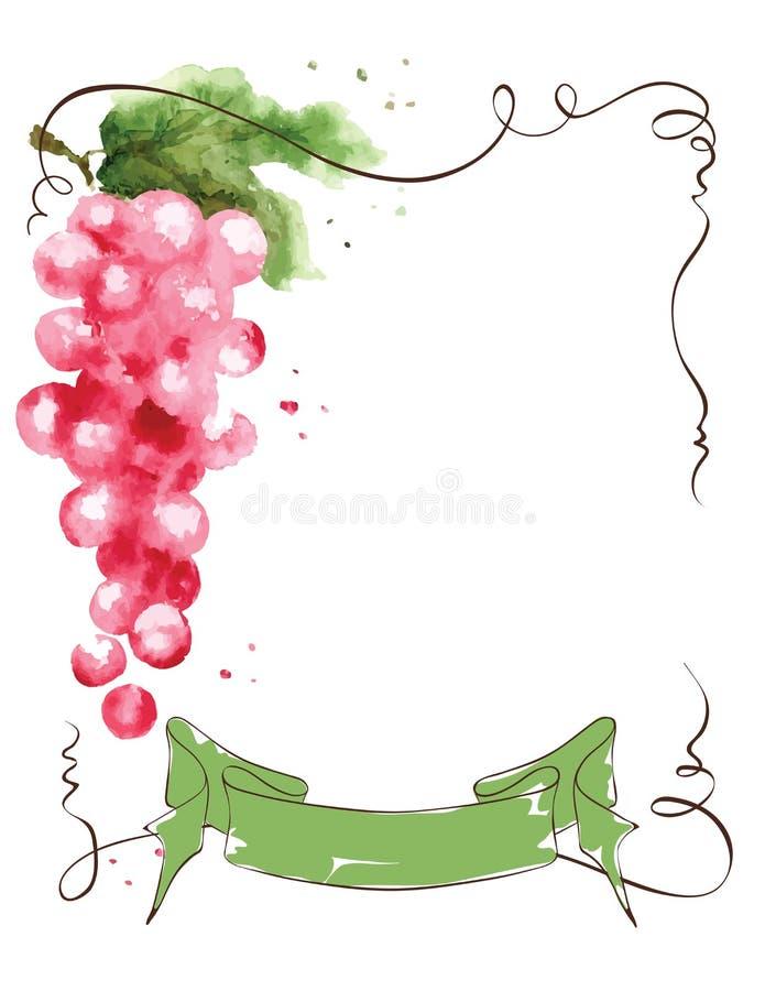 Etiqueta del vino con un manojo de uvas y de cinta stock de ilustración