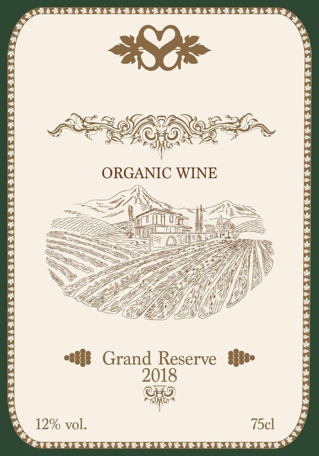 Etiqueta del vino con un paisaje de viñedos fotos de archivo
