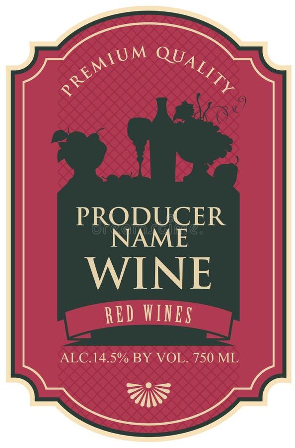 Etiqueta del vino con vida inmóvil stock de ilustración