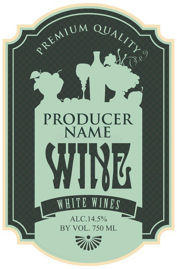 Etiqueta del vino con vida inmóvil ilustración del vector